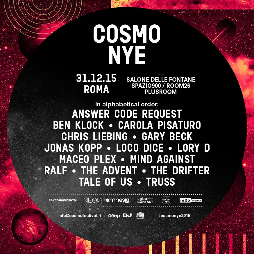 Il Capodanno 2016 a Roma è Cosmo Festival